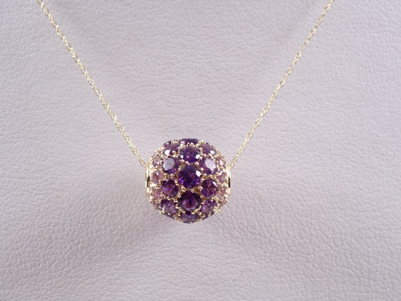 "14K Yellow Gold 2.50 ct Amethyst Cluster Rondelle Necklace Pendant 18"" Chain February Gemstone"