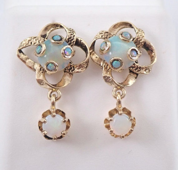 Vintage Antique 14K Yellow Gold Opal Dangle Earrings October Birthstone Circa 1960's