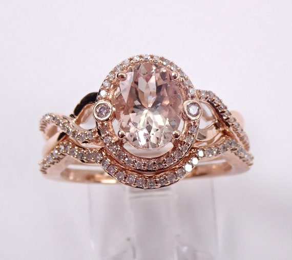 Morganite and Diamond Halo Engagement Ring Wedding Band Set Rose Gold Size 7
