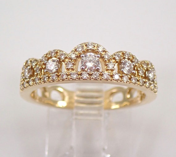 Modern Diamond Crown Ring Yellow Gold Stackable Cluster Fashion Band Size 7