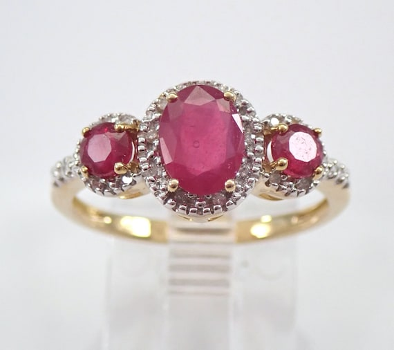 1.35 ct Diamond and Ruby Three Stone Halo Engagement Ring Yellow Gold Size 7 July Birthstone FREE Sizing