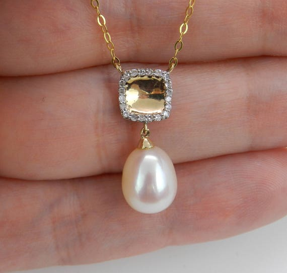 """14K Yellow Gold Diamond and Pearl Drop Pendant Wedding Necklace with Chain 16"""""""