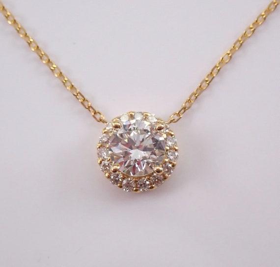 "14K Yellow Gold Diamond Halo Pendant Necklace 18"" Chain Genuine Natural Round"