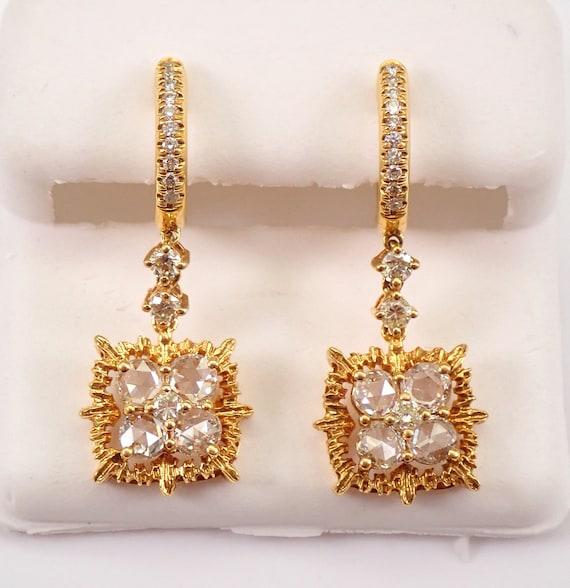 18K Yellow Gold 1.42 ct Rose Cut Diamond Dangle Drop Earrings MUST SEE