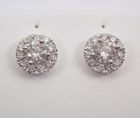 14K White Gold Diamond Studs Cluster Stud Earrings 1.00 ct Diamond Halo Studs