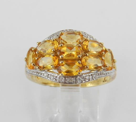 Yellow Gold Diamond and Citrine Cluster Anniversary Band Wedding Ring Size 7.25