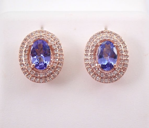 Tanzanite and Diamond Double Halo Stud Earrings Purple Wedding Studs Rose Gold December Gemstone