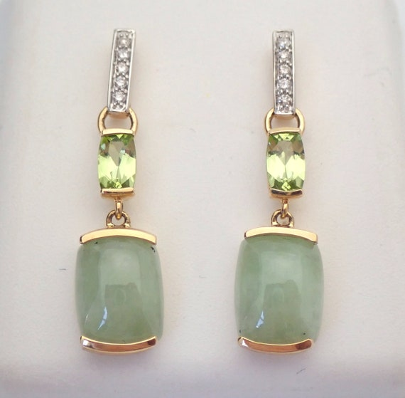 14K Yellow Gold Jade Peridot Diamond Drop Earrings Green Healing Gemstone