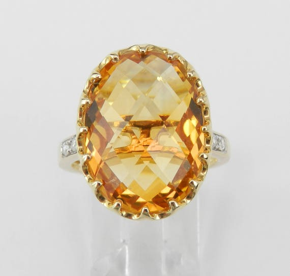 14K Yellow Gold Diamond and Citrine Cocktail Engagement Ring Size 7 November Birthstone FREE Sizing