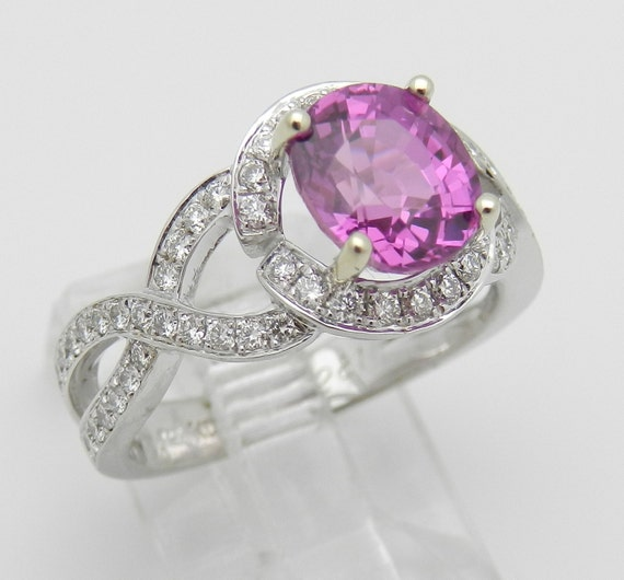 Pink Sapphire and DIamond Halo Engagement Ring 14K White Gold Size 6.5 Vivid Bright Pink FREE Sizing