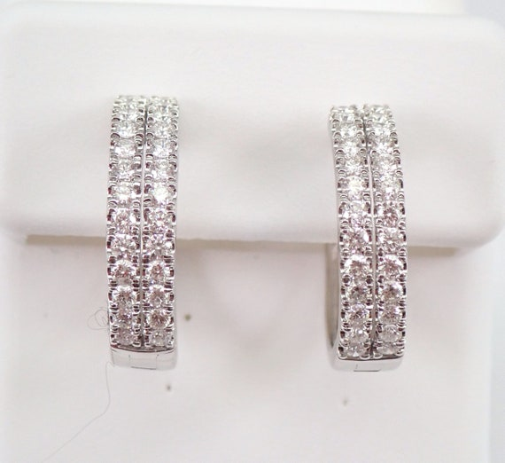 14K White Gold Diamond Hoop Earrings Double Row Hoops 3/4 ct