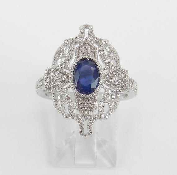 Vintage Style 14K White Gold Diamond and Sapphire Cocktail Ring, Antique Style Sapphire Ring, September Gemstone FREE Sizing