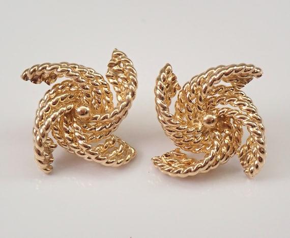 Vintage Estate 14K Yellow Gold Love Knot Braided Pinwheel Stud Earrings