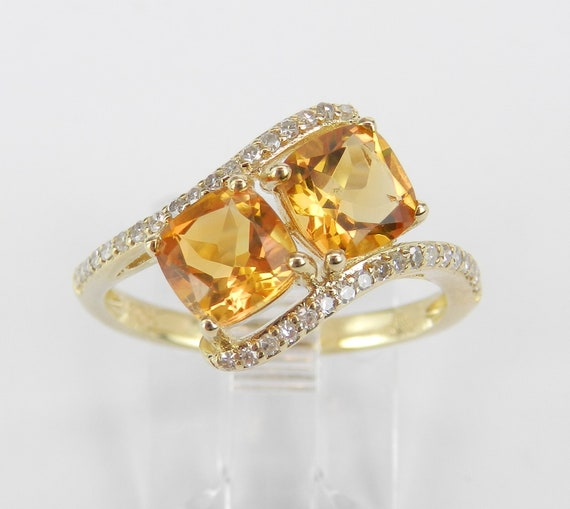 Two Stone Cushion Cut Citrine and Diamond Promise Ring Yellow Gold Size 7 November Birthstone Gem FREE Sizing