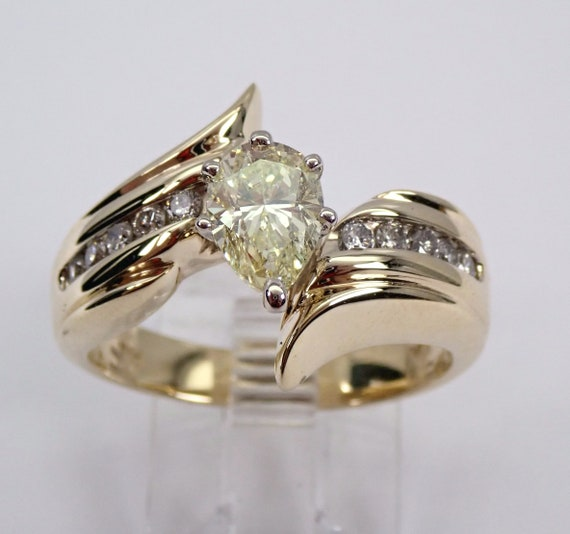 1.32 ct Light Fancy Pear Shape Diamond Engagement Ring 14K Yellow Gold Size 8