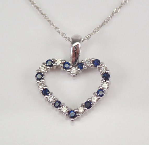 """White Gold Diamond and Sapphire Open Heart Pendant Necklace Chain 18"""" September Birthstone"""