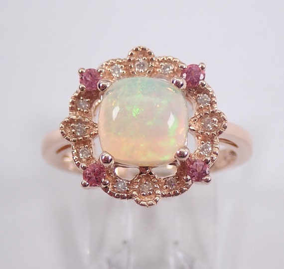 Opal Diamond Pink Tourmaline Engagement Ring Rose Gold Size 7 October Gemstone