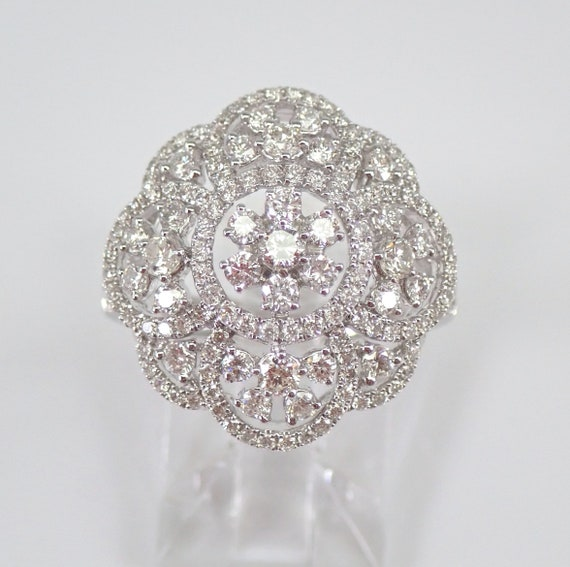 18K White Gold 1.53 ct Round Brilliant Diamond Cocktail Cluster Dome Ring Size 6.75 FREE Sizing