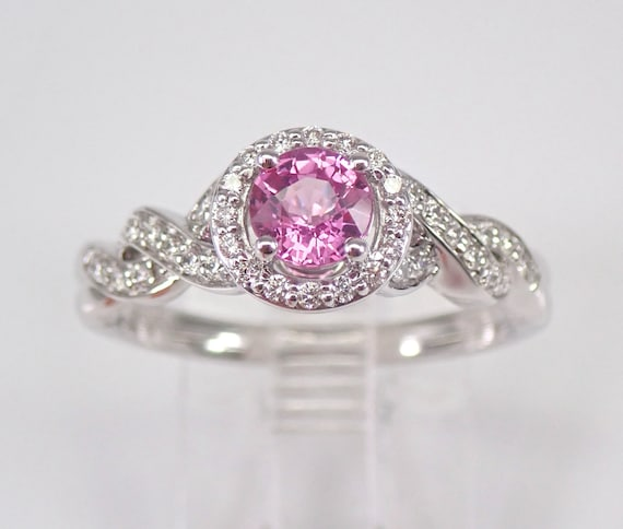 Diamond and Pink Sapphire Halo Engagement Ring 14K White Gold Size 6.75 FREE SIZING