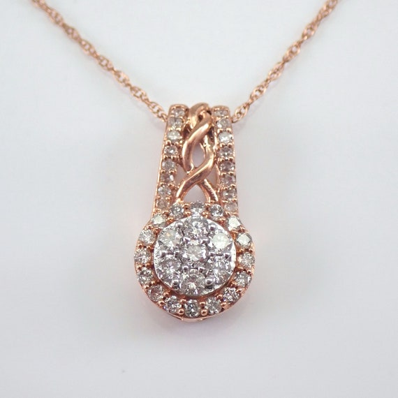 "Diamond Cluster Halo Drop Pendant Rose Gold Chain 18"" Wedding Necklace Slide Gift"