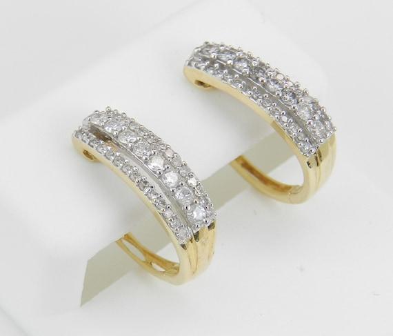 SALE PRICE! Diamond Hoop Earrings Diamond Hoops set in 14K Yellow Gold