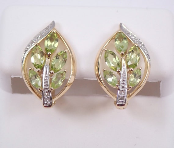 Yellow Gold Peridot and Diamond Cluster Earrings Euro Hinged Clasp August Gemstone