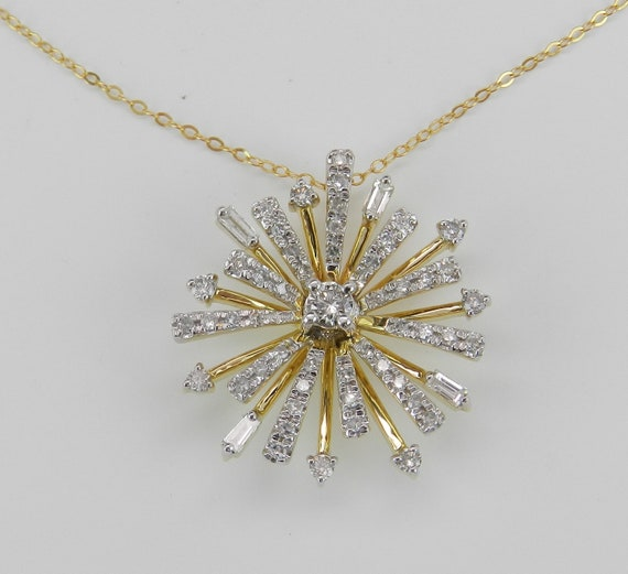 "14K Yellow Gold Diamond Snowflake Sun Starburst Pendant Cluster Necklace 17"" Chain"
