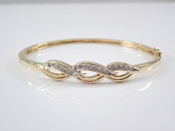 Yellow Gold Diamond Bangle Bracelet Cuff Great Gift