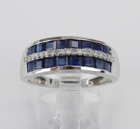 Diamond and Princess Cut Sapphire Wedding Ring Anniversary Band 14K White Gold Size 6 FREE Sizing