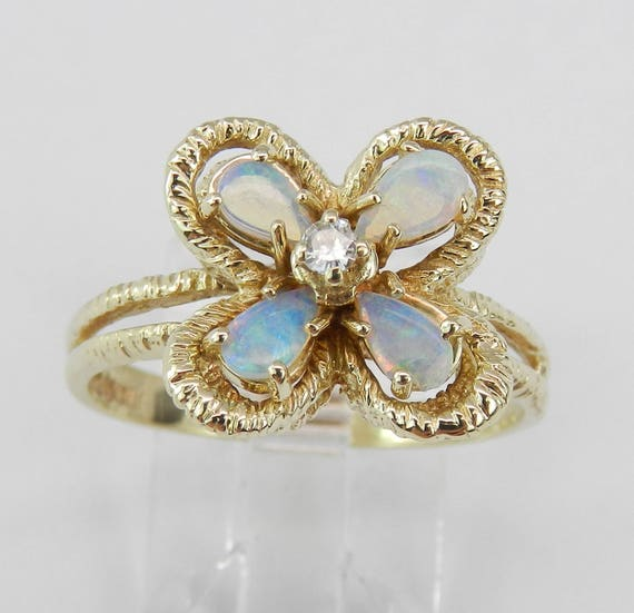 Estate Opal Ring, Vintage Opal and Diamond Ring, Opal Flower Ring, 14K Yellow Gold Clover Ring, Antique Opal Ring, Size 8.75