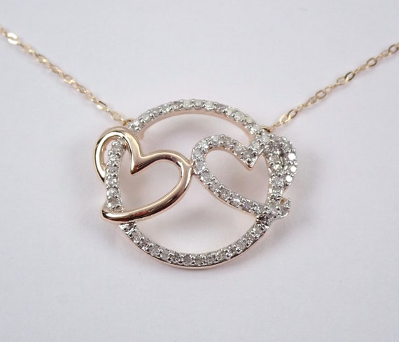 "14K Rose Gold Diamond Double Heart Pendant Necklace 17"" Chain Circle of Life"