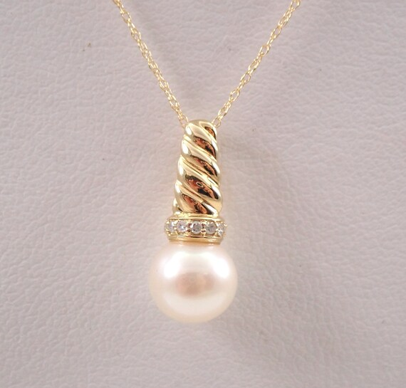 """14K Yellow Gold Diamond and Pearl Drop Pendant Necklace with Chain 18"""" June Birthstone"""