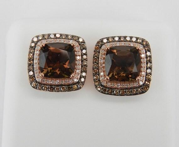 4.50 ct Smokey Topaz and Fancy Cognac Diamond Halo Rose Gold Stud Earrings