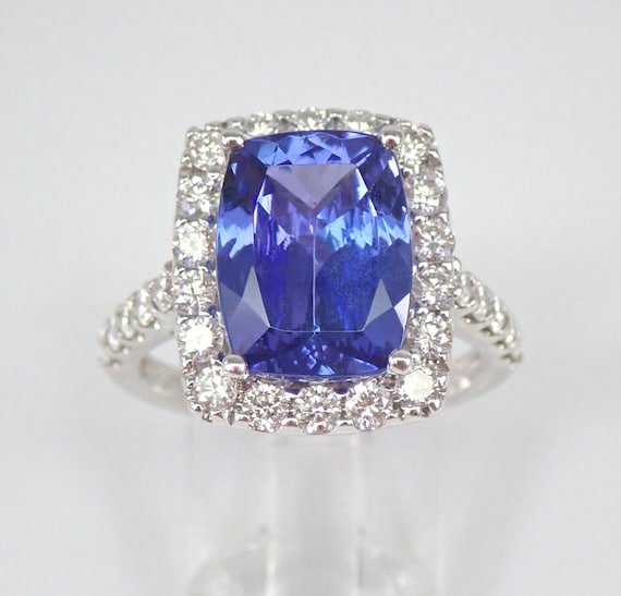18K White Gold 6.04 ct Diamond and Cushion Cut Tanzanite Halo Engagement Ring Size 7 FREE Sizing