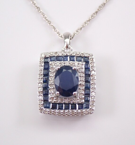 "2.10 ct Diamond and Sapphire Cluster Pendant 14K White Gold Necklace 18"" Chain"