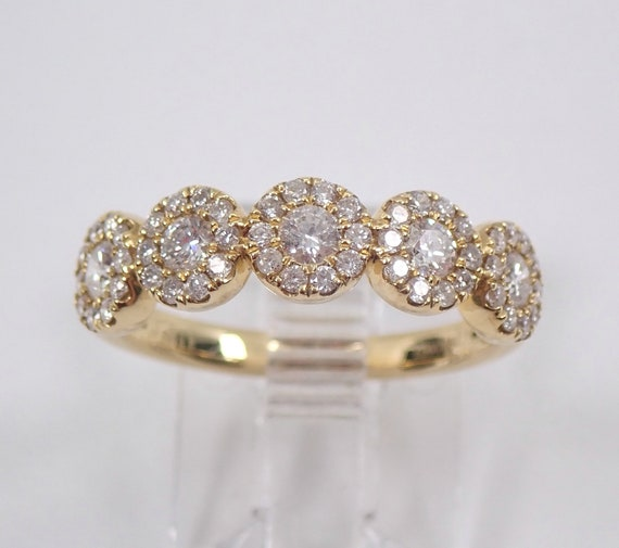 Diamond Halo Wedding Ring Stackable Anniversary Band 18K Yellow Gold Size 6.5