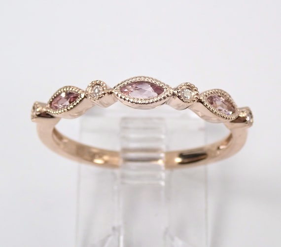 Diamond and Pink Tourmaline Wedding Ring Anniversary Stackable Band 14K Rose Gold Size 7.25