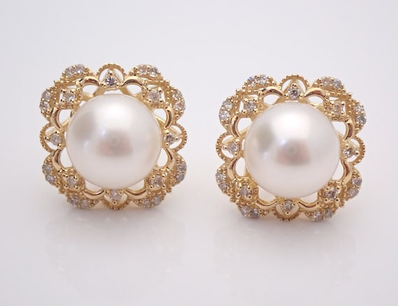 Pearl and Diamond Halo Stud Earrings 14K Yellow Gold June Birthstone Snowflake Wedding Studs