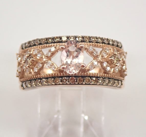 Morganite and Champagne Diamond Wedding Ring Anniversary Band Rose Gold Size 7