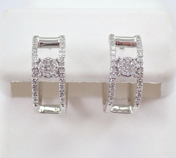 White Gold Diamond Hoop Earrings Cluster Diamond Hoops Huggies Gift