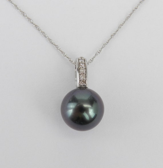 "14K White Gold Diamond and Black Tahitian Pearl Pendant Necklace with Chain 18"" June Birthday"