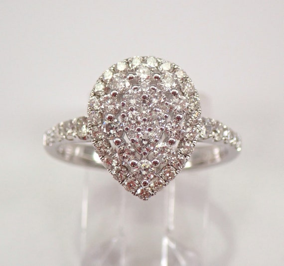14K White Gold .92 ct Diamond Pear Cluster Halo Engagement Ring Size 7 FREE SIZING
