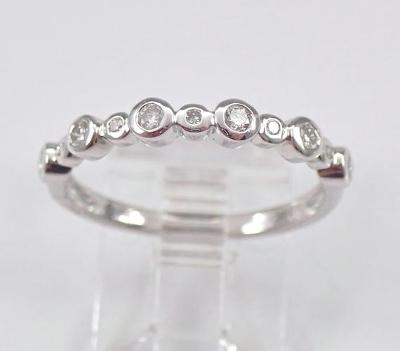 14K White Gold Bezel Set Diamond Wedding Ring Anniversary Band Stackable Size 7 FREE SIZING