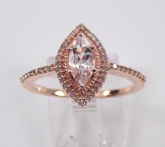 Marquise Morganite and Diamond Halo Engagement Ring Rose Pink Gold Size 7 FREE Sizing