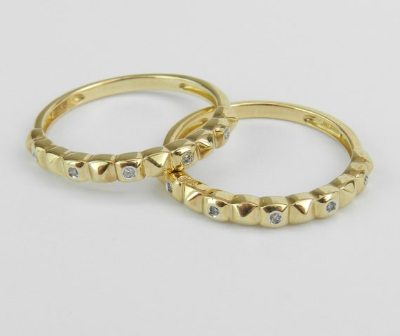 Set of 2 Gold Bands, Diamond Wedding Ring, Anniversary Band, Stackable Guard Set, Real Gold Ring, Diamond Band