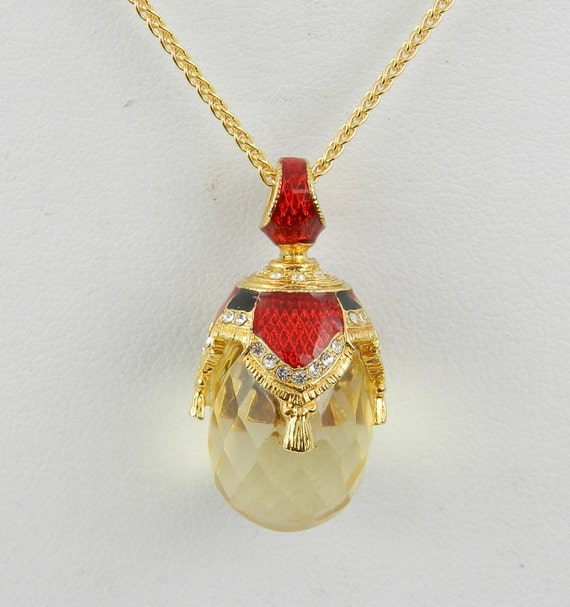 Quartz Pendant, Faberge Egg Necklace, Red Enamel Pendant, Lemon Quartz Necklace, Swarovski Crystal Egg Pendant, Gold and Silver Chain