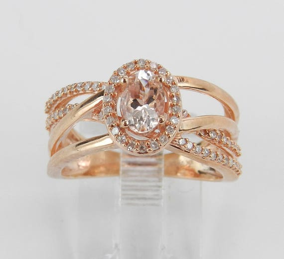 Morganite and Diamond Engagement Ring, Rose Gold Crossover Ring, Morganite Halo Ring, Size 8, Pink Aquamarine Ring