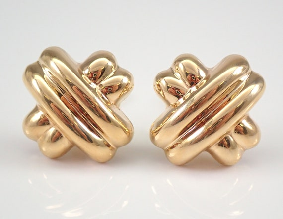 Vintage Estate 14K Yellow Gold Clip On Earrings Clips HUGS and KISSES