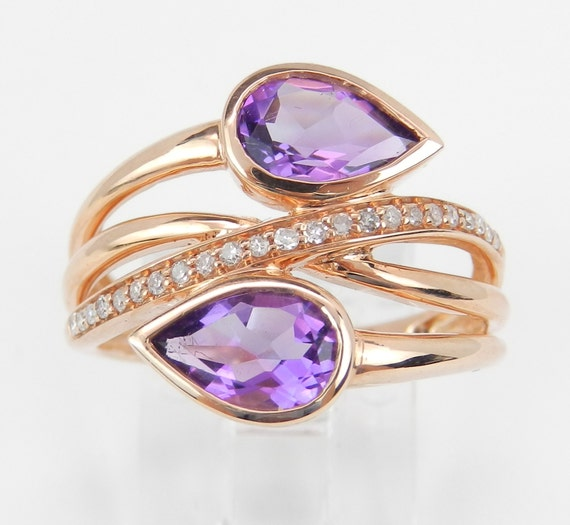 Diamond and Amethyst Ring, 14K Rose Gold Bypass Ring, Amethyst Cocktail Ring, Size 7, February Birthday, Amethyst Ring