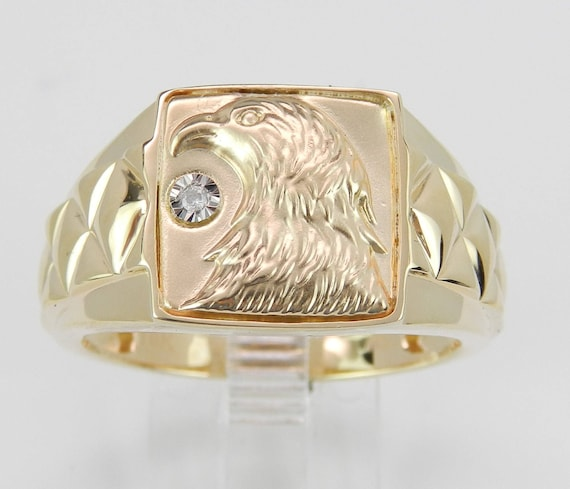 Mens Yellow Gold Diamond Eagle Ring, Signet Style Ring, American Patriotic Size 12.25